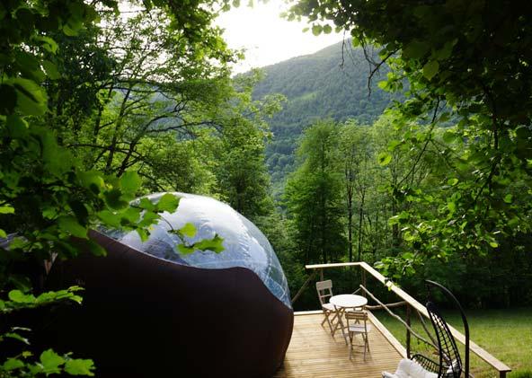 Bulle transparente en montagne, vallée du Louron